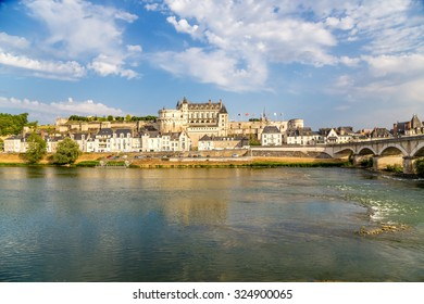 France. The picturesque Castle of Amboise on the banks of the Loire river