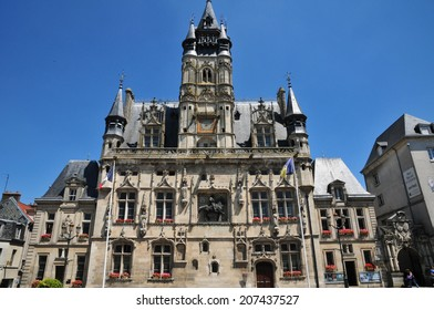 France, the picturesque city hall of  Compiegne in Oise