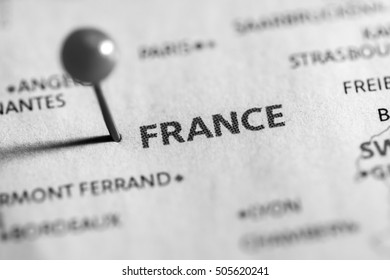 France pinned on a map of Europe.