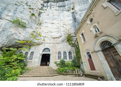 France, Plan D'Aups, 29 May 2018: Grotto of Mary Magdalene, Massif St Baum, holy fragrance, holy grotto, the Monastery of Dominican Friars, Statue of Mary Magdalene, facade of Entrance to the grotto