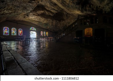 France, Plan D'Aups, 29 May 2018: Grotto of Mary Magdalene, Massif St Baum, holy fragrance, holy grotto, the Monastery of Dominican Friars, Statue of Mary Magdalene, Entrance to the grotto