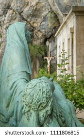 France, Plan D'Aups, 29 May 2018: Grotto of Mary Magdalene, Massif St Baum, holy fragrance, holy grotto, the Monastery of Dominican Friars, Statue of Mary Magdalene, monument of Magdalene