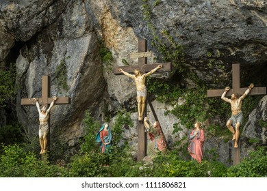 France, Plan D'Aups, 29 May 2018: Grotto of Mary Magdalene, Massif St Baum, holy fragrance, holy grotto, the Monastery of Dominican Friars, Statue of Mary Magdalene, scene with crosses