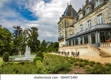 FRANCE, POITOU - CHARENTE, MAY, 19, 2019 - Ancient castle Chateau de Mirambeau located in the region of Poitou - Charente. This renaissance castle is a luxury hotel offering a view of 8-hectare park.