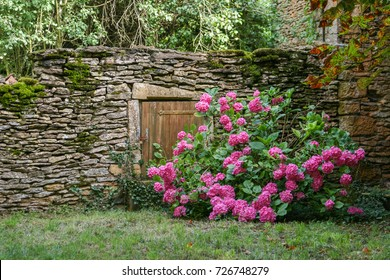 France Provence entrance secret door in a garden surrounded with flowers, greenery and grass