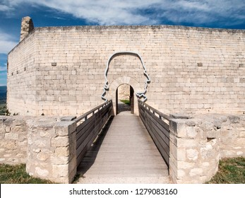 France, Provence, LaCoste. Entrance to the Castle De Sade in the town of Lacoste.
