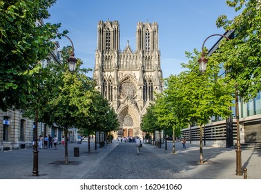 FRANCE REIMS 21 AUG: view of the facade of the cathedrale of reims on 21August 2013. It is the seat of the Archdiocese of Reims, where the kings of France were crowned