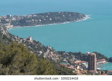 France, Roquebrune Cap Martin, Cape Martin and Monte Carlo skyscraper in foreground