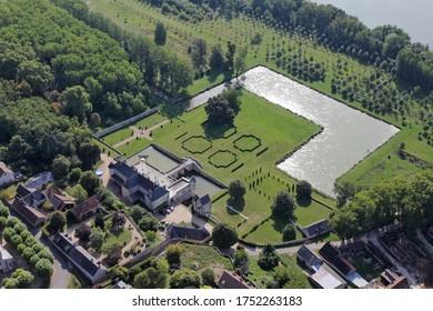FRANCE, SAINT-DENIS-SUR-LOIRE, July 31, 2011: Aerial photograph of t Saint-Denis-Sur-Loire castle, in the Loir-et-Cher department, in the Cente-Val-de-Loire region, 41, France