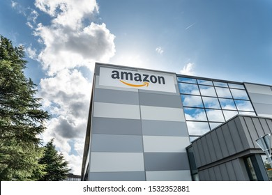 Vélizy, FRANCE Sept. 23th 2019 :  Exterior facade of the Amazon Logistic building at Vélizy Villacoublay in France.