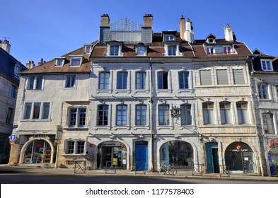 Besançon, France - September 11, 2018: Building of the 140 Grande Rue, birthplace of the famous writer Victor Hugo.