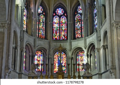 Besançon, France - September 13, 2018: Inside Saint John's Cathedral.