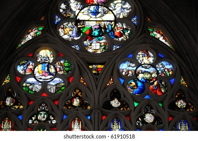 France, stained glass window of Dives sur Mer church in Normandy