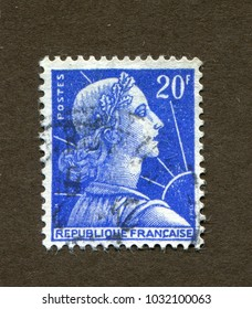 France stamp no circa date: A stamp printed in France shows Marianne, symbol of the French Republic.