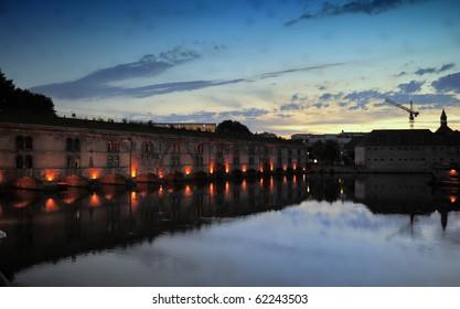 France, Strasbourg, La-Petite-France, Ponts Couvertsat dusk