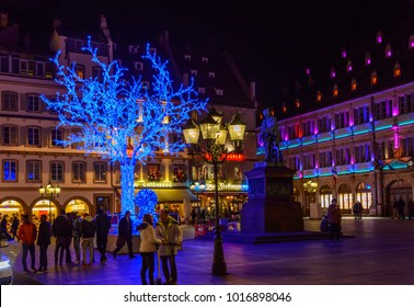 France, Strasburg 01 January 2018:Amazingly beautiful Central streets of Strasbourg at night on Christmas holidays