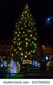 France, Strasburg 01 January 2018:Beautiful Christmas Tree on the square in downtown