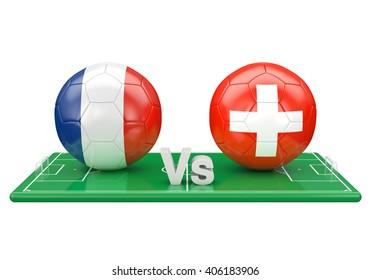 France / Switzerland soccer game over soccer field 3d illustration