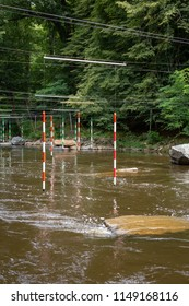 FRANCE, UZERCHE - JULY 12, 2018: Whitewater or canoe slalom cour