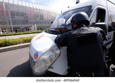 FRANCE, Villeneuve d'Ascq,  April 21 2016: Police, civilians, medical staff, firemen and rescuers take part in a simulation exercise of terrorist attack at the Pierre Mauroy stadium.