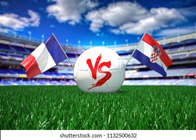 France vs Croatia. Football 3d concept. White ball with the flag in the stadium.