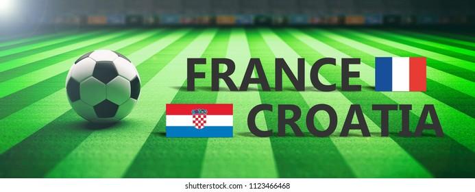 France vs Croatia, soccer, football final match. 3d illustration