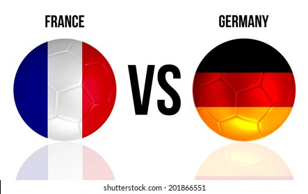 France VS Germany soccer ball concept isolated on white background with reflection