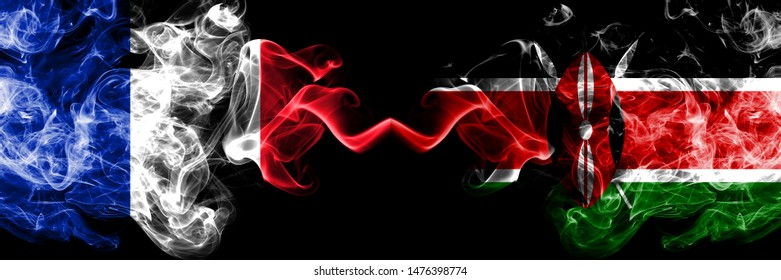 France vs Kenya, Kenyan smoky mystic flags placed side by side. Thick colored silky abstract smokes banner of French and Kenya, Kenyan