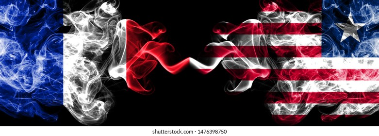 France vs Liberia, Liberian smoky mystic flags placed side by side. Thick colored silky abstract smokes banner of French and Liberia, Liberian