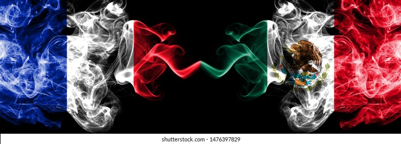 France vs Mexico, Mexican smoky mystic flags placed side by side. Thick colored silky abstract smokes banner of French and Mexico, Mexican