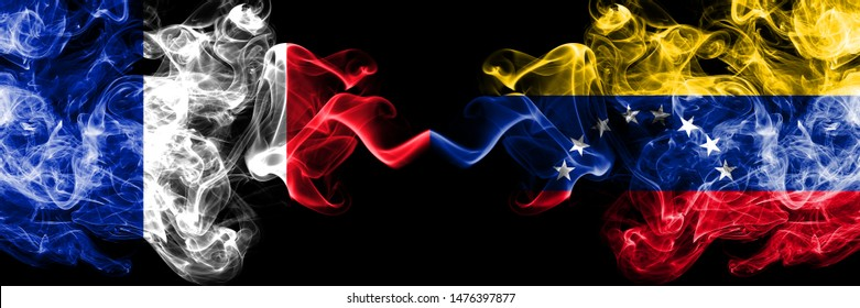 France vs Venezuela, Venezuelan smoky mystic flags placed side by side. Thick colored silky abstract smokes banner of French and Venezuela, Venezuelan