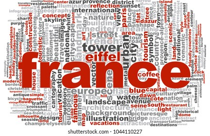 France word cloud. Creative illustration of idea word lettering typography . 3D rendering.