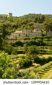 Oppède, France-06 17 2015:Oppède Le Vieux is a magnificent little hill-top village surrounded by lush vegetation in the Vaucluse department in the Provence-Alpes-Côte d'Azur region in south France.