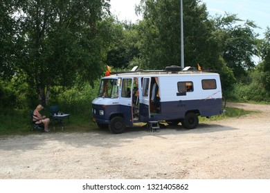 France,Normandie,Honfleur,july 2017: camper is parking in the surrounding of Honfleur