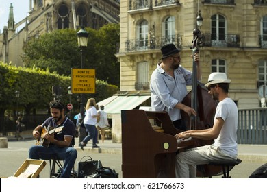 FRANCE/PARIS  01 SEPTEMBER 2016 In the afternoon, Around the Cathedral Notre-Dame, impressive performance from 'street musicians'.