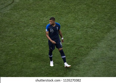 "France's footballer Kylian Mbappe during World Cup 2018 final match France vs Croatia. ""Luzhniki"" Stadium, 15th July 2018."