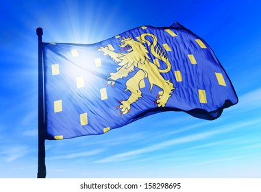 Franche-Comte (France) flag waving on the wind