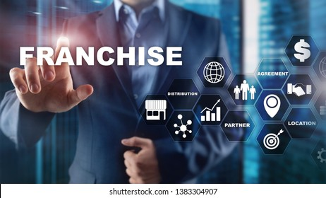 Franchise consept on virtual screen. Marketing Branding Retail and Business Work Mission Concept.