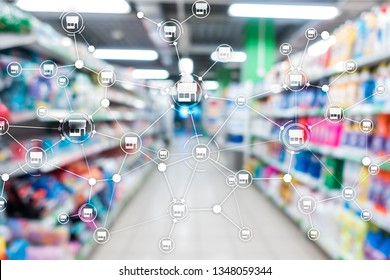 Franchise Distribution network Shop Retail Business Financial concept. Blurred supermarket background.