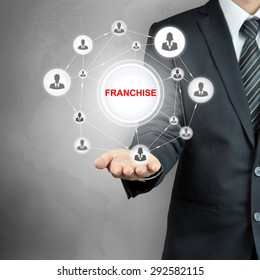 FRANCHISE sign with people icon network on businessman hand