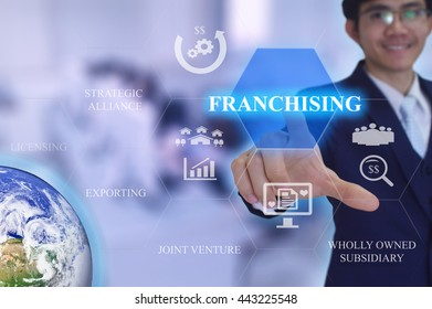 FRANCHISING  in entry strategy concept presented by  businessman touching on  virtual  screen -image element furnished by NASA