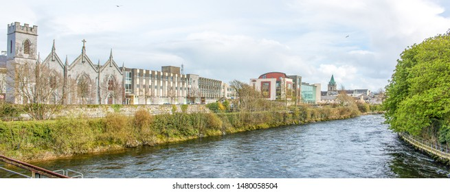 Franciscan Abbey Church  and city panorama Galway Ireland