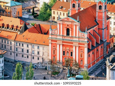 Franciscan Church of the Annunciation and people in Preseren Square in the historical center of Ljubljana, Slovenia