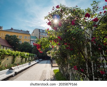 Franciscan Garden or Frantiskanska Zahrada in Prague, Czech Republic with a Yellow Pavilion and Flower Beds - Shutterstock ID 2035879166