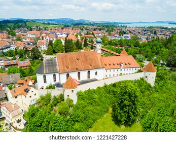 Franciscan Monastery or St. Stephan Franziskanerkloster aerial panoramic view. St. Stephan is a monastery in Fussen old town in Bavaria, Germany.