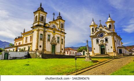 São Francisco de Assis and Nossa Senhora do Carmo Churches, Mariana City, Minas Gerais State, Brazil.