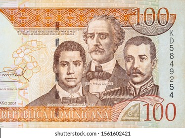 Francisco Del Rosario Sanchez portrait with Matias Ramon Mella and Juan Pablo Duarte depicted on old one hundred peso note