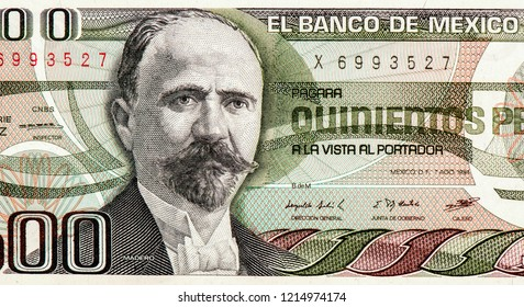 Francisco I. Madero portrait on Mexico 500 peso (1983) banknote, Mexican president, revolutionary, writer and statesman, Mexico Pesos is the main currency of Mexico, Close Up Uncirculated Collection.