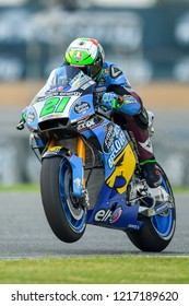 Franco Morbidelli no.21 of Italy and EG 00 Marc VD in qualifying during The PTT Thailand Grand Prix - MotoGP at Chang International Circuit on October 6, 2018 in Burirum ,Thailand