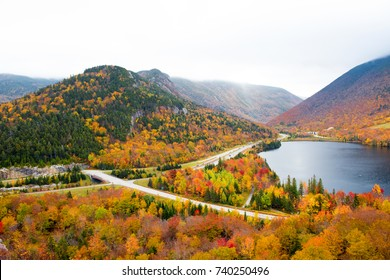 Franconia Notch and Echo Lake, New Hampshire in autumn.